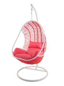 KIDEO® CANDY Hängesessel inklusive Gestell und Kissen, Polyrattan coral-pink (Seawaves / Kissen coral-pink)