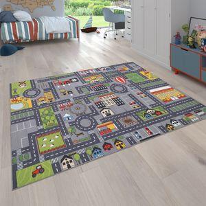 Spielteppich Kinderteppich Kinderzimmer Straßenteppich Straßen Design, In Grau, Grösse:140x200 cm