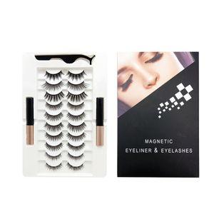 10x Magnetische Wimpern mit Eyeliner softe und wiederverwendbare 3D Magnetische Wimpern Set mit 2 speziellen magnetischen Eyeliner
