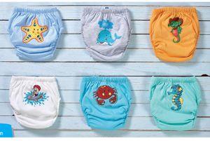 WASSERTIERE-Trainerhosen für Tröpfchentraining 6er Pack (110) - Wiederverwendbare Kleinkinder Windelhosen Lernwindeln Trainerwindeln Baby Unterwäsche zum Sauberwerden Toilettentraining