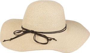 styleBREAKER Damen Strohhut mit schmalem Band und Schleife, Sonnenhut, Schlapphut, Sommerhut, Hut 04025012, Farbe:Creme-Weiß