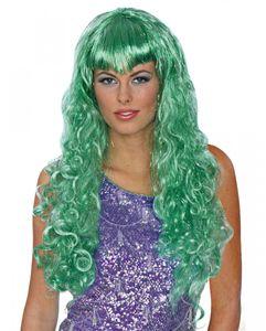 Grüne Meerjungfrau Perücke mit Glitzerfäden für Nixen Kostüme