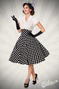 High Waist Tellerrock, Farbe: Schwarz/Weiß, Größe: S