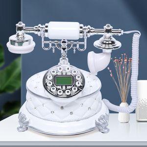 Schnurgebundenes High-End-Retro-Telefon, Vintage Antik-Telefon im Retro-Stil, Schnurtelefon Metall Nostalgietelefon Retro-Tischtelefon Retro Telefon des weißen Edelsteindesigns Weiß Vintage Deko Telefon mit Zeit Display für Tischdeko