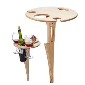 Klappbarer Weintisch im Freien, tragbarer klappbarer Weintisch aus Holz, Weintischstapel für Garten, Reisen, Camping, Strand und Abendessen(Holzfarbe)