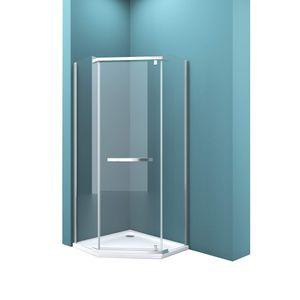 Mai & Mai Fünfeck-Duschkabine 90 x 90 cm Duschwand Echtglas ebenerdige Montage möglich ESG Dusche Rav08