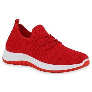 Mytrendshoe Damen Sportschuhe Laufschuhe Strick Profil-Sohle Sportliche Schuhe 834791, Farbe: Rot, Größe: 40