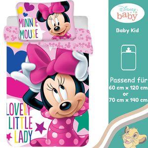 Disney Minnie Maus Kinder Bettwäsche Kopfkissen Bettdecke Micky 100x135 cm Kleine Lady
