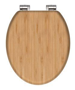 SCHÜTTE WC Sitz BAMBUS, massiver Toilettendeckel Holz mit Absenkautomatik aus nachhaltigem Rohstoff