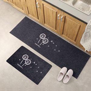2er/Set Küchenläufer waschbar Teppichläufer Küchenteppich Grau-Weiß, 120x40 cm+60x40cm