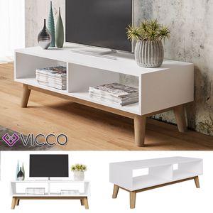 Vicco Lowboard MICA Weiß - Fernsehschrank Sideboard Massivholz TV Fernsehtisch