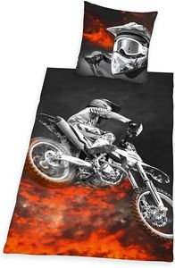 Microfaser-Bettwäsche Motocross 135 x 200/80 x 80 cm Stand.-Var.