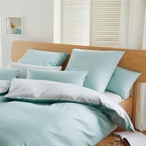 Elegante Comfort Mako-Satin Bettwäsche  2324-4 pastell grün gestreift, GRÖßENAUSWAHL:135x200 cm + 80x80 cm