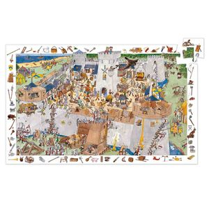 DJECO Wimmelpuzzle: Die Burg - 100 Teile + Poster