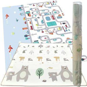 Doppelseitige Lernmatte für Babys - Faltbarer Schaumstoff - Krabbeldecke inkl. Tasche  180 x 150 cm Spielteppich