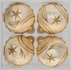 4 tlg. Glas-Weihnachtskugeln Set 8cm Ø in Ice Champagner Gold Komet