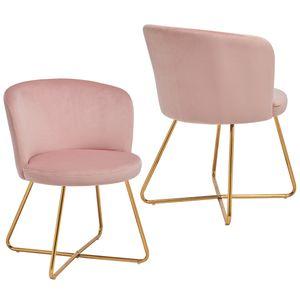 Duhome 2er Set Esszimmerstuhl Polsterstuhl aus Stoff Samt Hell Rosa Pink Metallgestell goldfarben