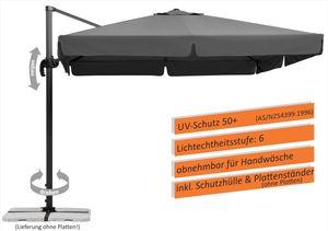Schneider Sonnenschirm Rhodos 300x300 cm anthrazit, inkl. Plattenständer, ohne Platten 782-15