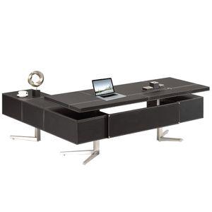 Chef Schreibtisch Bari rechts in braun Büromöbel Jet-Line Winkelschreibtisch Lederoptik Büro Tisch hochwertig verarbeitet