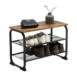 VASAGLE Schuhregal mit 2 Ablagen Holzoptik 66 x 45 x 30 cm für 6 paar Schuhe Schuhbank einfache Montage stabil platzsparend Vintage LMR32BX