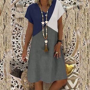 Damen Sommerkleid mit lockeren Kontrastfarbennähten und kurzen Ärmeln mit V-Ausschnitt Größe:XL,Farbe:Grau