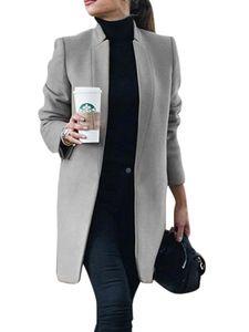Damen Wollmantel Trench Jacke Damen Warmer langer Parka formeller Mantel,Farbe:Grau,Größe:XL