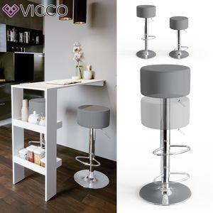 Vicco Design Barhocker 2er Set Grau Schminkhocker höhenverstellbar Drehstuhl