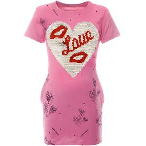 BEZLIT Mädchen Longshirt Tunika mit Wende Pailletten Rosa 164