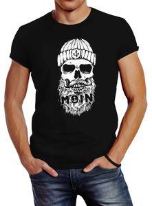 Neverless® Herren T-Shirt Moin Totenkopf Anker Skull Print Motiv Bart schwarz 5XL