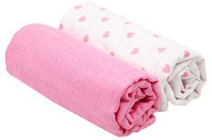 2er Set Spucktücher, 120x120 cm, Baumwolle, weiß / rosa mit Herzen