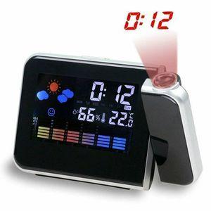 LCD wecker, Projektions-LCD-Wecker, USB Aufladung LCD Farb Displaybeleuchtung Digital Snooze-Wecker, Schwarz