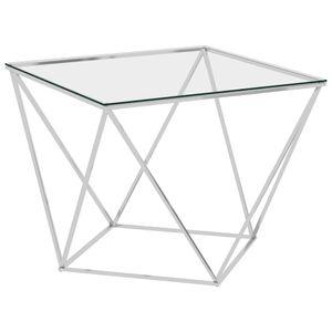 vidaXL Couchtisch Silbern 80x80x45 cm Edelstahl