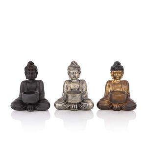 3 Buddha sitzend mit Teelichthalter - Kerzenständer für Teelichter