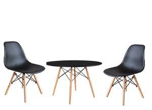 Eiffel Model Black Tisch Ø 80 Höhe 75 mit 2 schwarzen PP Stühlen