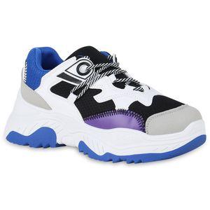 Mytrendshoe Damen Chunky Dad Sneaker Plateau Turnschuhe Modische Plateauschuhe 826484, Farbe: Blau Schwarz Grau, Größe: 37