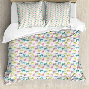 ABAKUHAUS Leopard Bettbezug Set für Einzelbetten, Vibrant Jaguar Silhouetten, Milbensicher Allergiker geeignet mit Kissenbezug, 200 cm x 200 cm - 80 x 80 cm, Mehrfarbig