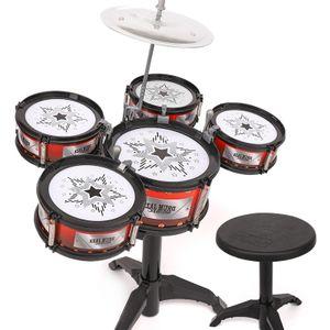 Hikeren Kindertrommeln Schlagzeug, Anfänger üben Instrumente (1 Produkt enthält 5 Trommeln und Stühle)