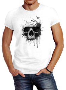 Herren T-Shirt Skull Splash Slim Fit Neverless® weiß L