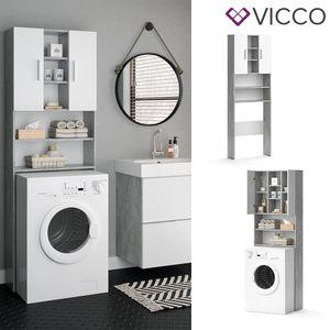 VICCO Waschmaschinenschrank LUIS 190x64cm Weiß Beton Badschrank Hochschrank