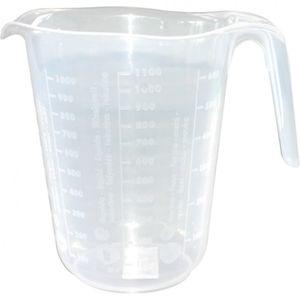 Messbecher 1 Liter Kunststoff, transparent für Mehl Zucker Reis und Flüssigkeiten