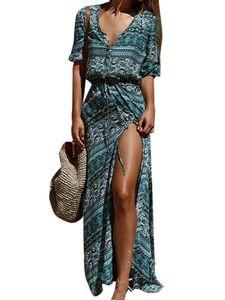 Langes Kleid zum Abnehmen mit böhmischem Druck für Frauen am Strand,Farbe: Streifen,Größe:M