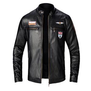 Herren Herbst Winter New Style Schlanke Lederjacke Mode Motorradmantel Größe:XXL,Farbe:Schwarz