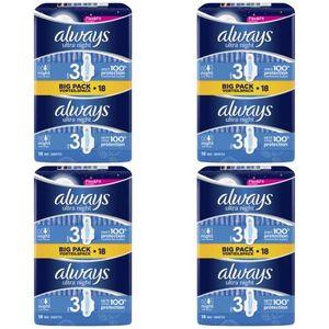 4 x Always Slipeinlagen Damenbinden Ultra Night 18 Stück
