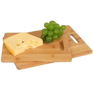 Bambus Schneidebretter 2er-Set Küchenbrett Holzbrett Schneidbrett Servierbrett