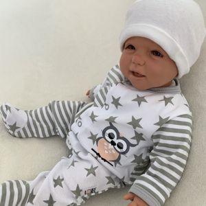 Baby Jungen Mädchen Strampler Schlafanzug Einteiler Gr. 56 Eule Sterne