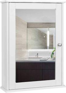 WOLTU Spiegelschrank für Badzimmer Hängeschrank Badschrank Spiegel mit Ablage Schminkschrank aus Holz 42 x 58,5 x 12 cm weiß