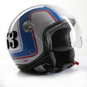 Motorradhelm Jethelm Rollerhelm CMX Cafe Racer 53 weiß/blau/rot : L