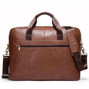 Leder Schulter Tasche Umhängetasche Rindsleder 15,6 zoll Laptop herren Business Aktentasche