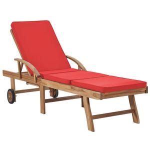 Sonnenliege Gartenliege Relaxliege Strandliege mit Auflage Massivholz Teak Rot