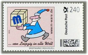 3 Cartoon-Briefmarken 'Weihnachten blau' á 240ct. 2015 M-ware® ID15585